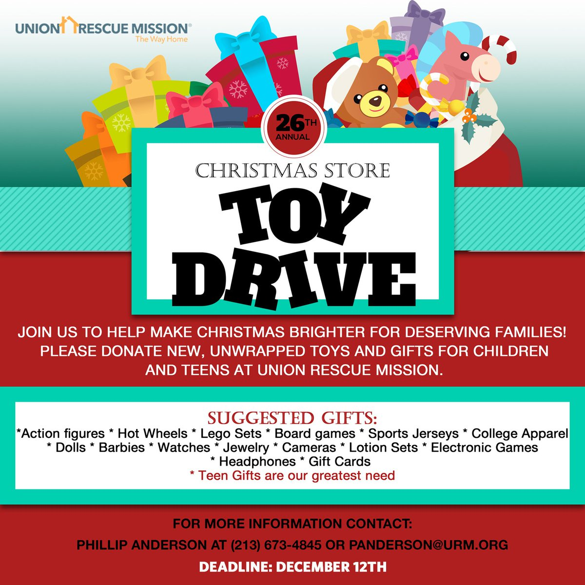 union rescue mission on twitter we are still accepting toy donations for the urm christmas store please contact phil anderson for more information on - Toy Donations For Christmas