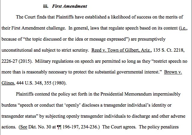 The third federal court to rule against Trump's trans troops ban found that the policy likely violated the First Amendment: https://t.co/xDv3s6ZgoH I wrote about that claim here: https://t.co/8aWlLqu4Wi