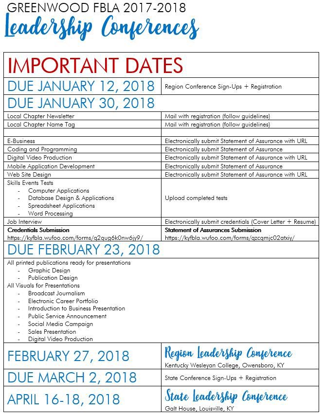 Greenwood Fbla On Twitter Important Dates Competitive Events