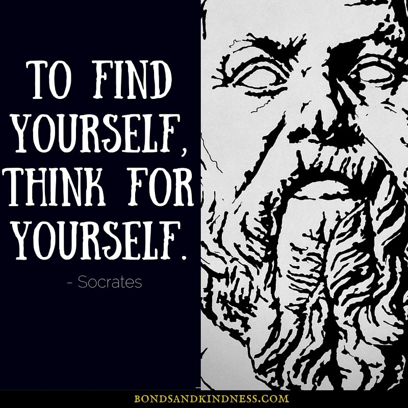 &quot;To find yourself, think for yourself&quot; #Socrates #philosophy #tuesdaymotivation #goals #selfdevelopment #artwork #quoteoftheday<br>http://pic.twitter.com/hgjINEPkAR