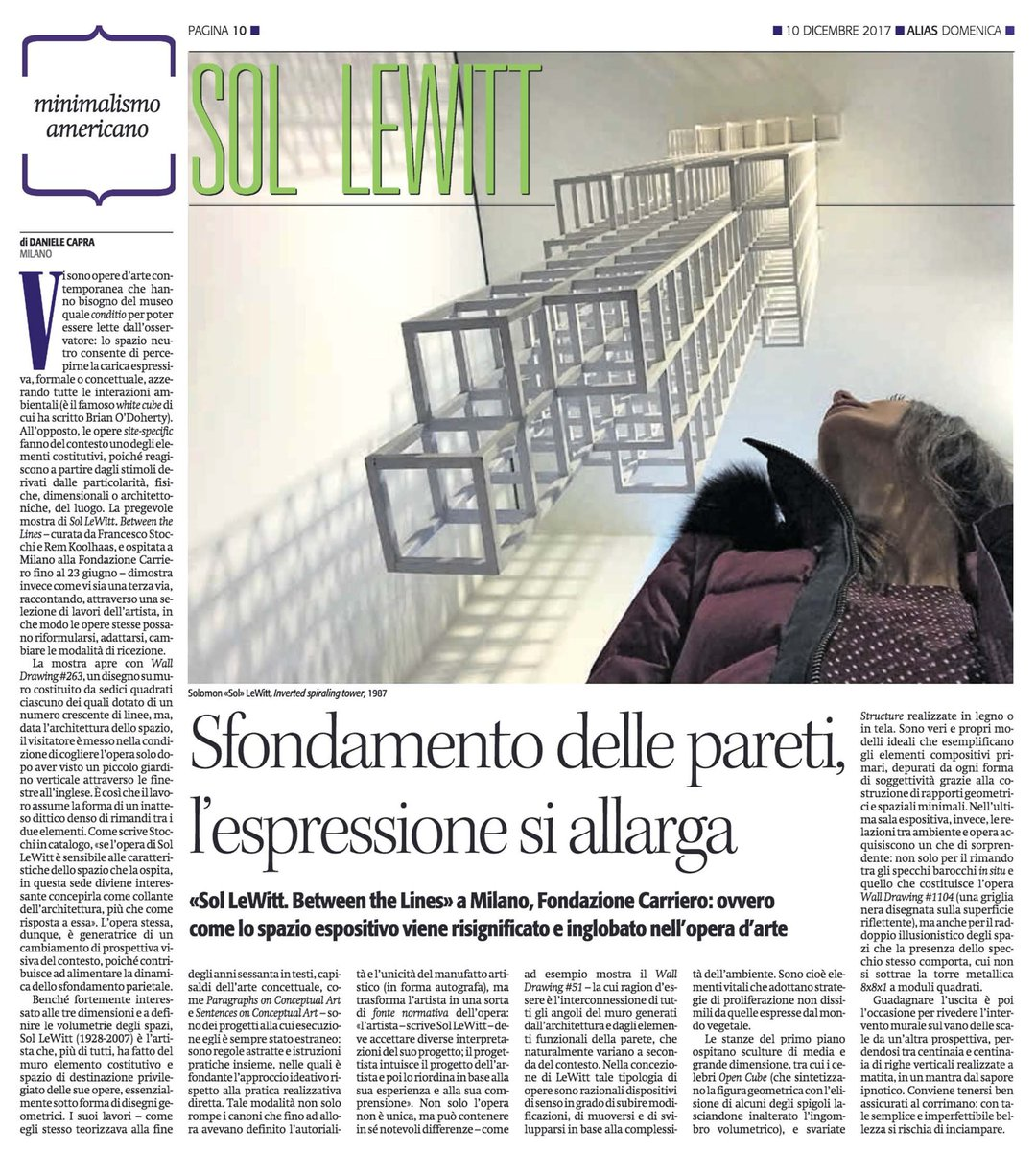 Sintesi e rigore. Su #Alias de @ilmanifesto di domenica mio #articolo su mostra #SolLeWitt alla #FondazioneCarriero a #Milano