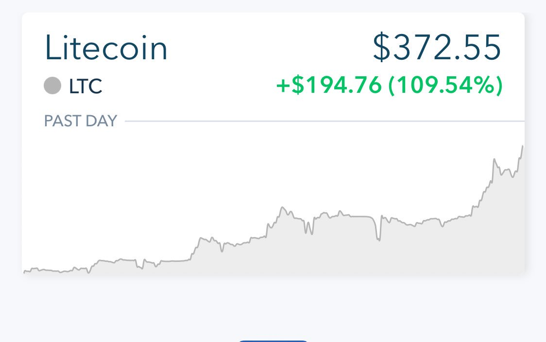 Lol damn congrats to the true Litecoin believers that bought and held at $4 and 40 earlier this year. I missed that boat haha. Insane!