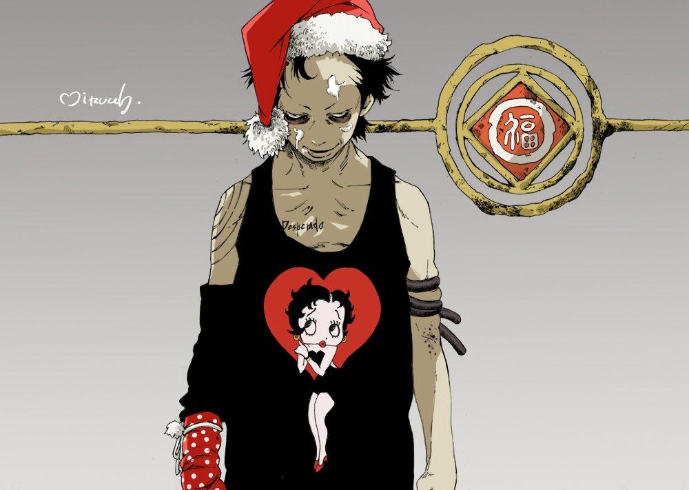 過去クリスマス絵。なんとなく赤より黒のイメージに…