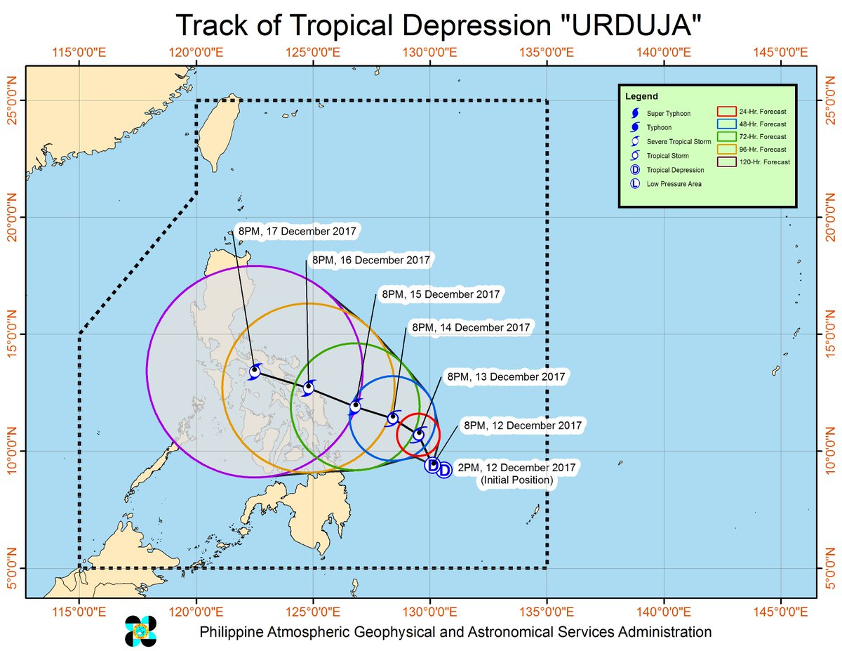 SEVERE WEATHER BULLETIN #2 FOR:Tropical Depression #UrdujaPH Tropical Cyclone: ALERT   ISSUED AT:11:00 PM, 12 December 2017   Tropical depression 'URDUJA' has maintained its strength as it moves slowly over the Philippine sea.  https://t.co/HEIALQFrMl