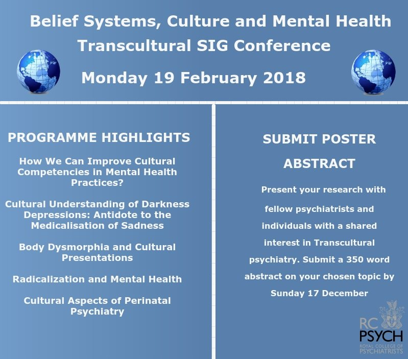 Book your place and submit your poster abstract for our Transcultural SIG Conference https://t.co/HgJ1RTEHZs