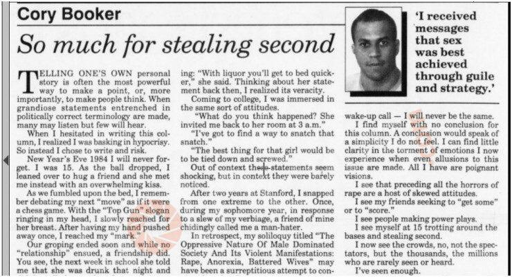 """A young @CoryBooker made a startling confession about the """"strategy"""" he employed with women"""