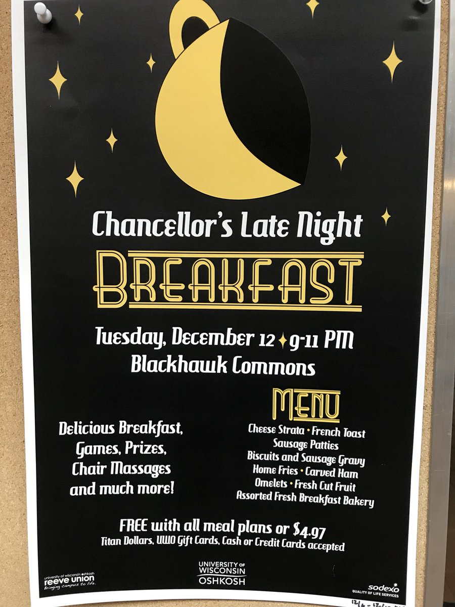 Reeve Union On Twitter Chancellor S Late Night Breakfast Is Tonight 12 12 And We Are So Excited Take A Break From Studying And Visit Blackhawk Commons From 9 11pm Uwo Uwoshkosh Https T Co Ff7cw69jex