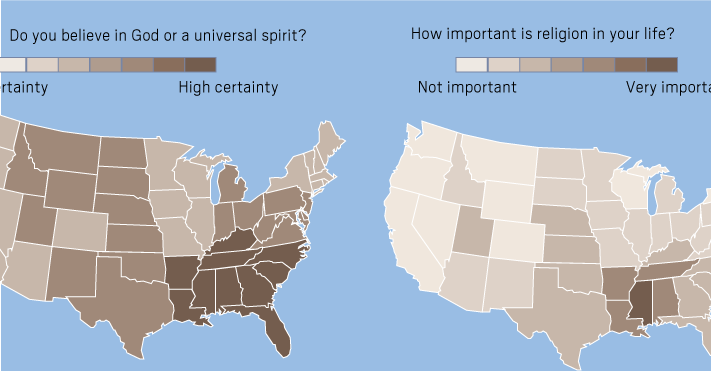 These maps show which states are most and least religious https://t.co/HEqsfi92Hd
