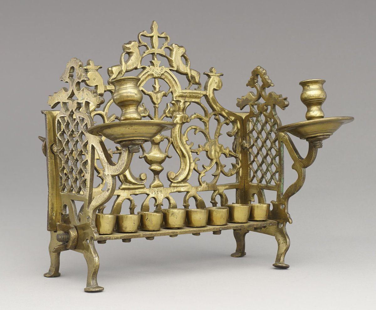 Happy #Hanukkah! The Jewish festival of lights starts tonight, and lasts for eight nights. This is an 18th-century Hanukkah lamp – each night one light is lit over the course of the festival