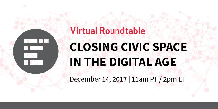 "test Twitter Media - Join @dgtlimpact on Thursday Dec. 14, 11am PT / 2pm ET for ""Closing Civic Space in the Digital Age,"" a virtual roundtable about the role of digital resources & how they're shaping access to democratic participation and civil liberties.   Register here: https://t.co/vk7RIHUCrn https://t.co/SXOLFor9nm"
