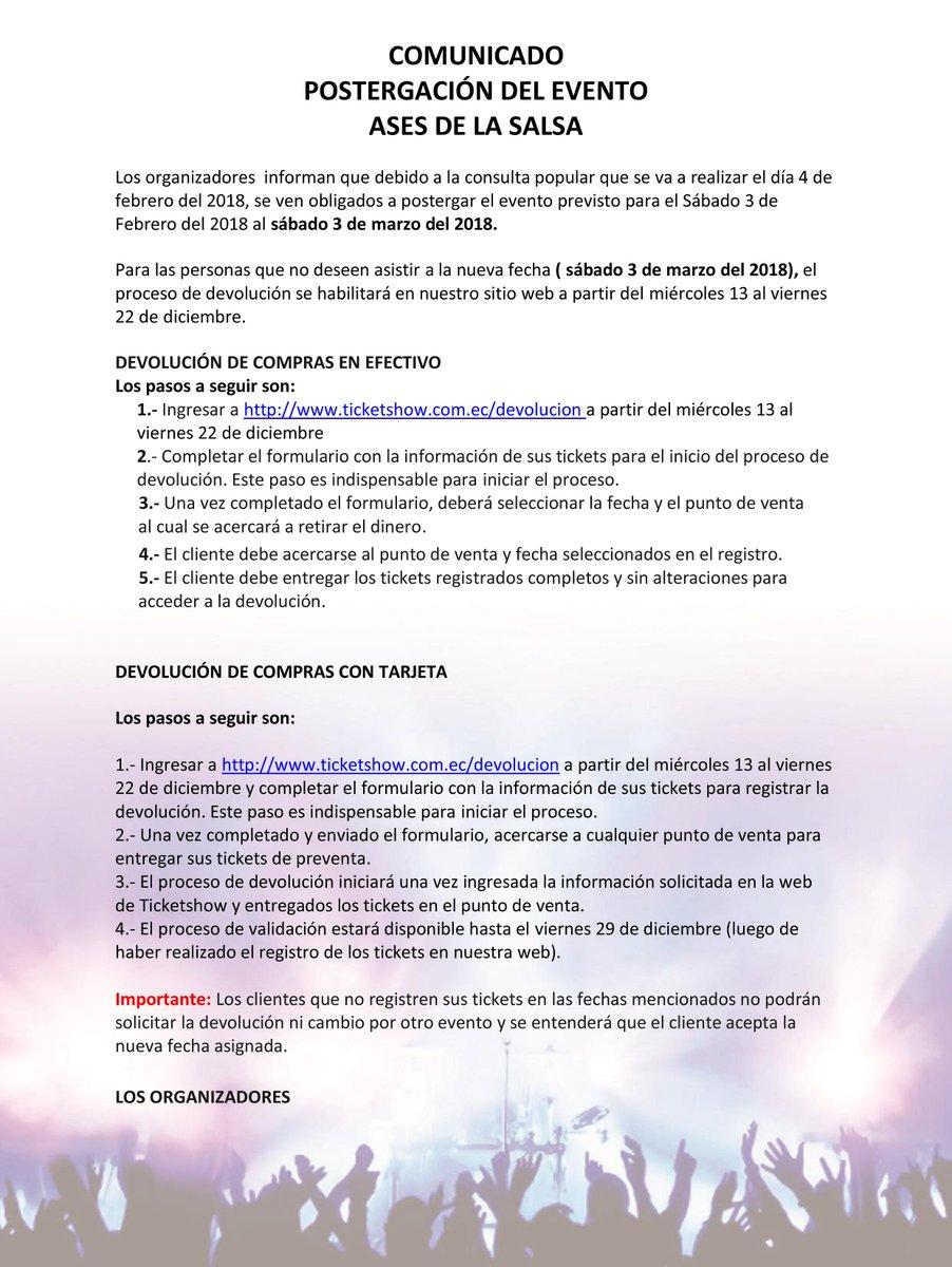 Ticket Show On Twitter Comunicado Ases De La Salsa Nueva Fecha Del