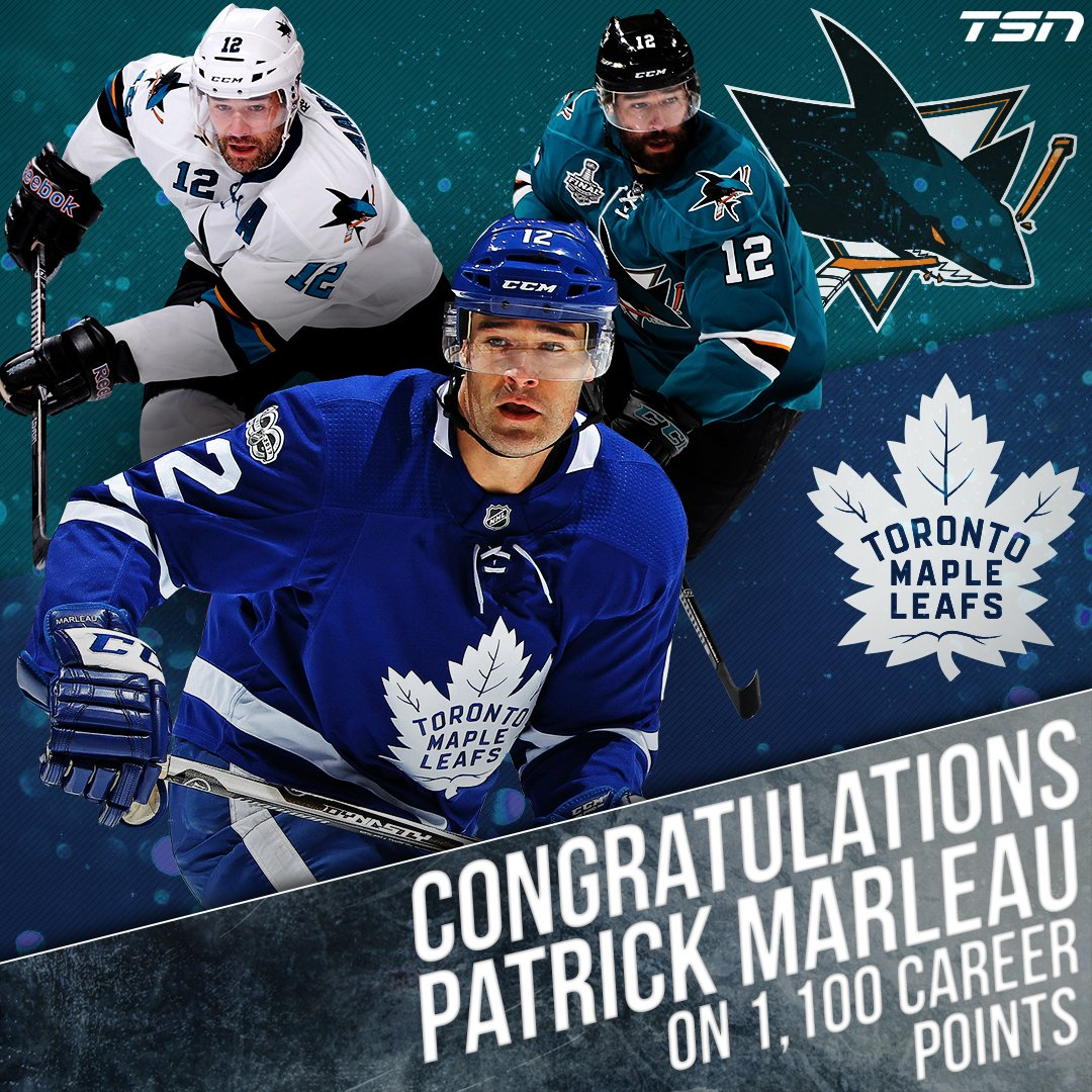 Patrick Marleau picked up his 1,100th career point on Tuesday night, becoming just the 60th player in #NHL history to reach that mark.