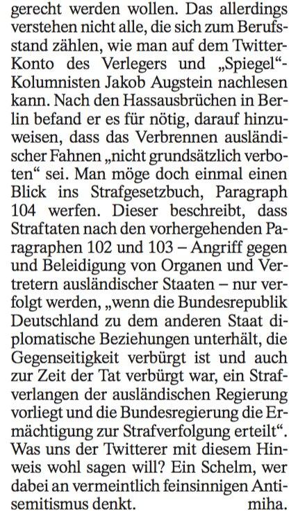 Peinlich: Michael Hanfeld verwechselt in der FAZ morgen §104 mit §104a und versteht deshalb den Tweet von @Augstein nicht. §104 besagt, dass nur offizielle Flaggen nicht verbrannt werden dürfen. @FAZ_Feuilleton