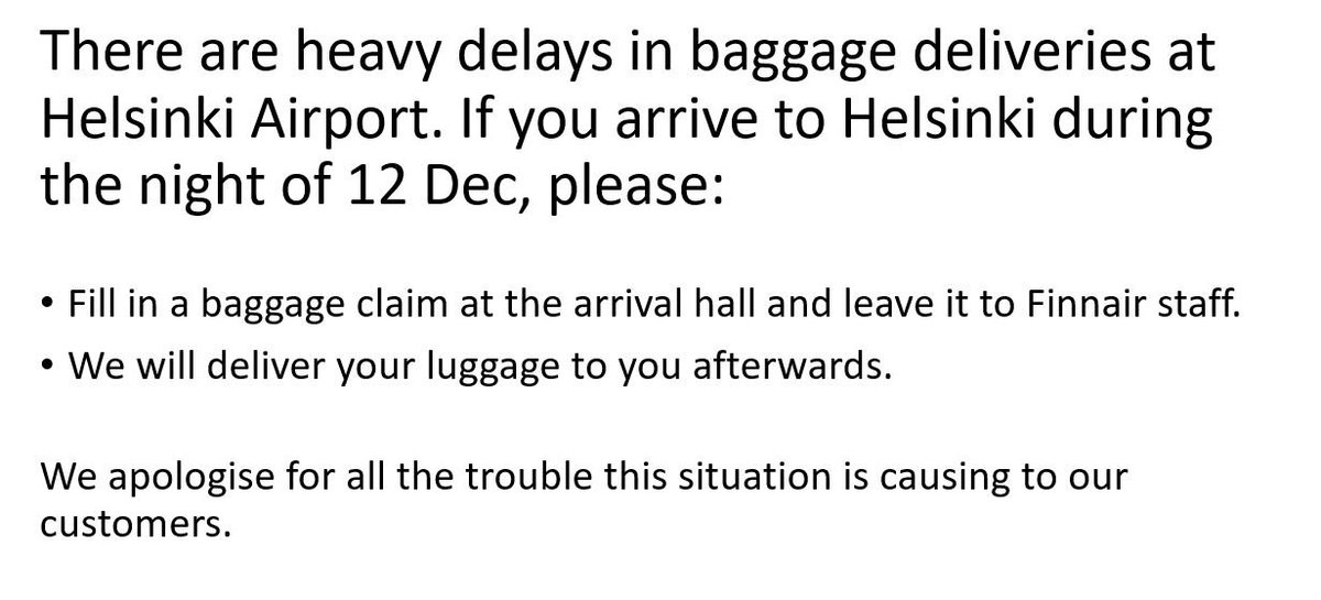 Finnair On Twitter There Are Heavy Delays In Baggage Deliveries At