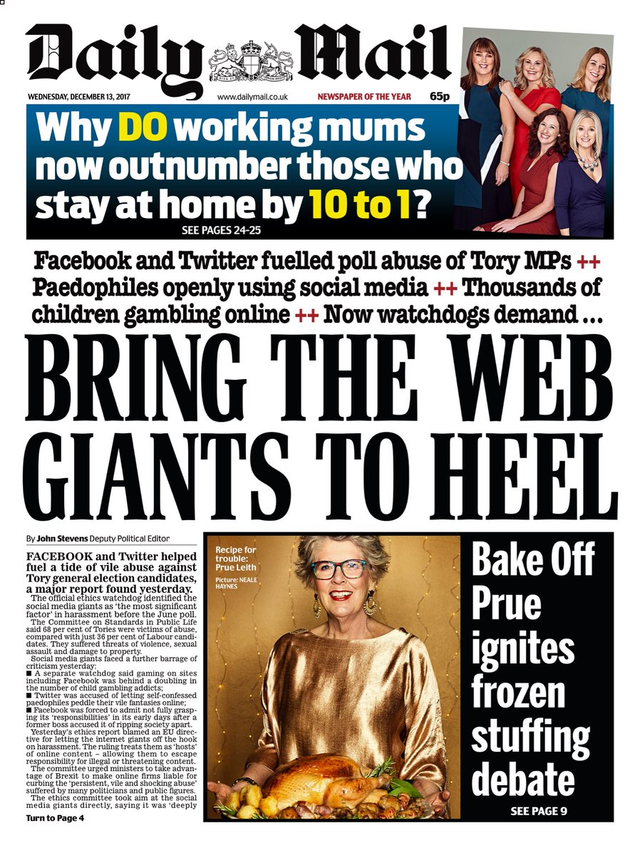 "Wednesday's Daily Mail: ""Bring The Web Giants To Heel"" #bbcpapers #tomorrowspaperstoday (via @AllieHBNews) https://t.co/T8f3UNPxw0"