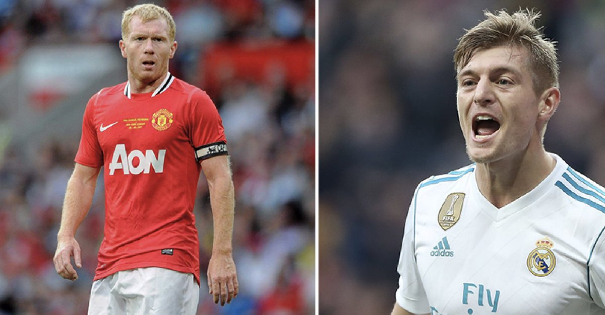 Q: 'Who is the best out of Gerrard, Lampard and Scholes?'  Toni Kroos: 'Paul Scholes.'   Manchester United: 👏😂  https://t.co/NPDRFoqrnO