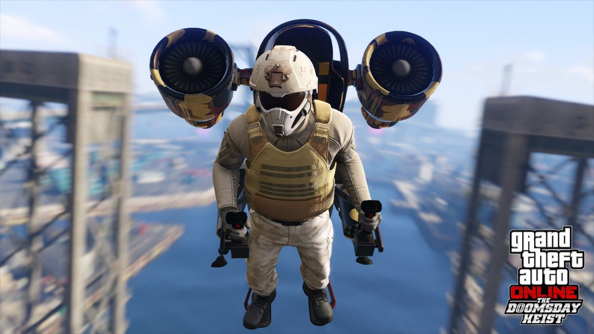 The Doomsday Heist brings access to the ultimate in weaponry: from the futuristic fury of the Khanjali tank, to the long-awaited madness of the Mammoth Thruster personal jetpack, you'll have everything you need to bring down a small army. https://t.co/FbXa6wmA5p