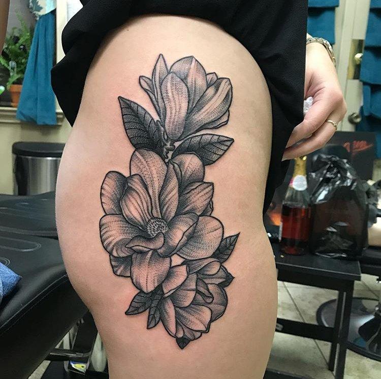 Dark Age Tattoo On Twitter Magnolia Flower Tattoo Done By Eddie