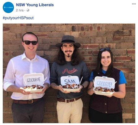The NSW Young Liberals turning this into some sort of anti-Muslim comment? Totally unexpected. Totally.