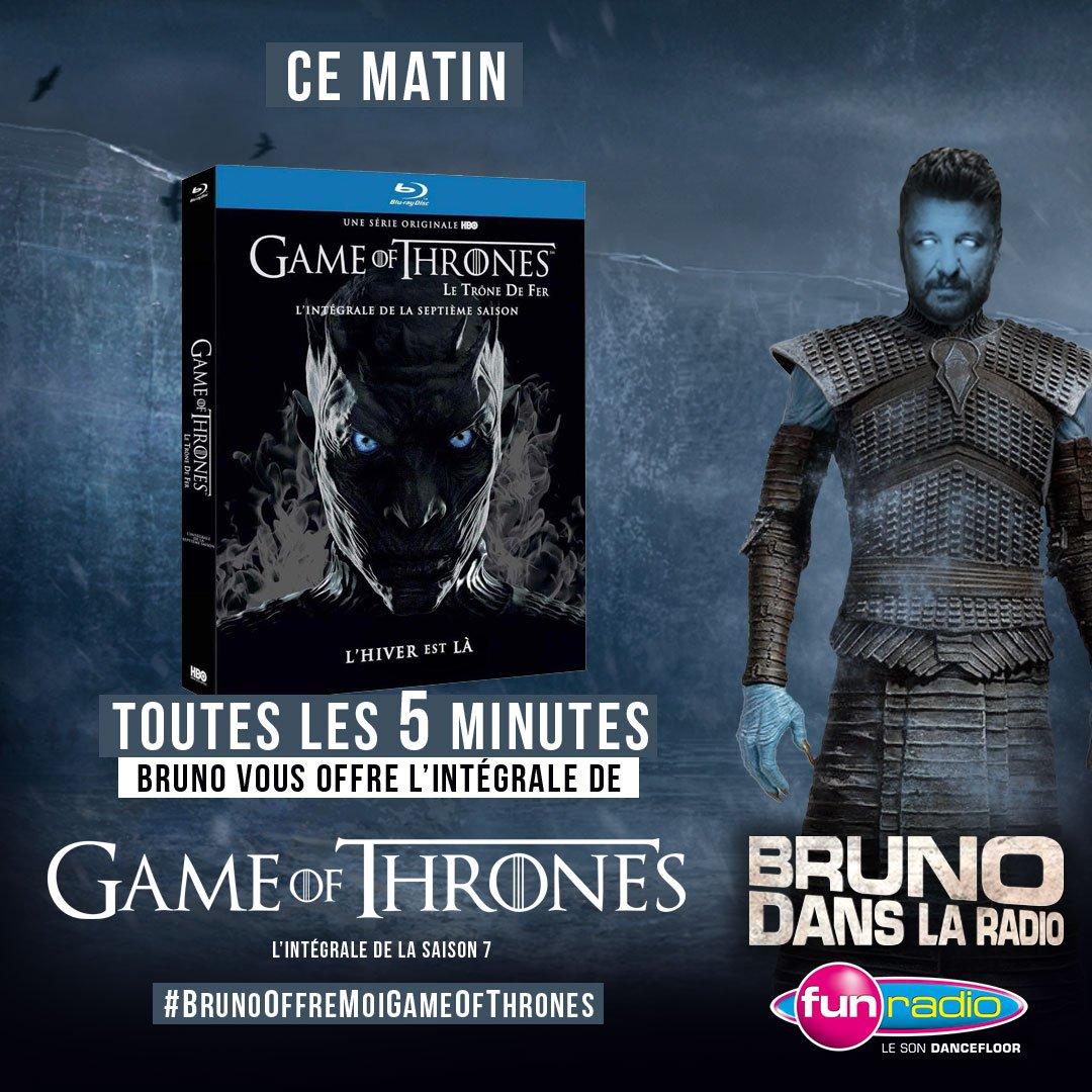 Toutes les 5 minutes ce matin, Bruno vous offre l'intégrale de la saison 7 de Game Of Thrones ! Tweetez avec le #BrunoOffreMoiGameOfThrones ! C'est parti !!