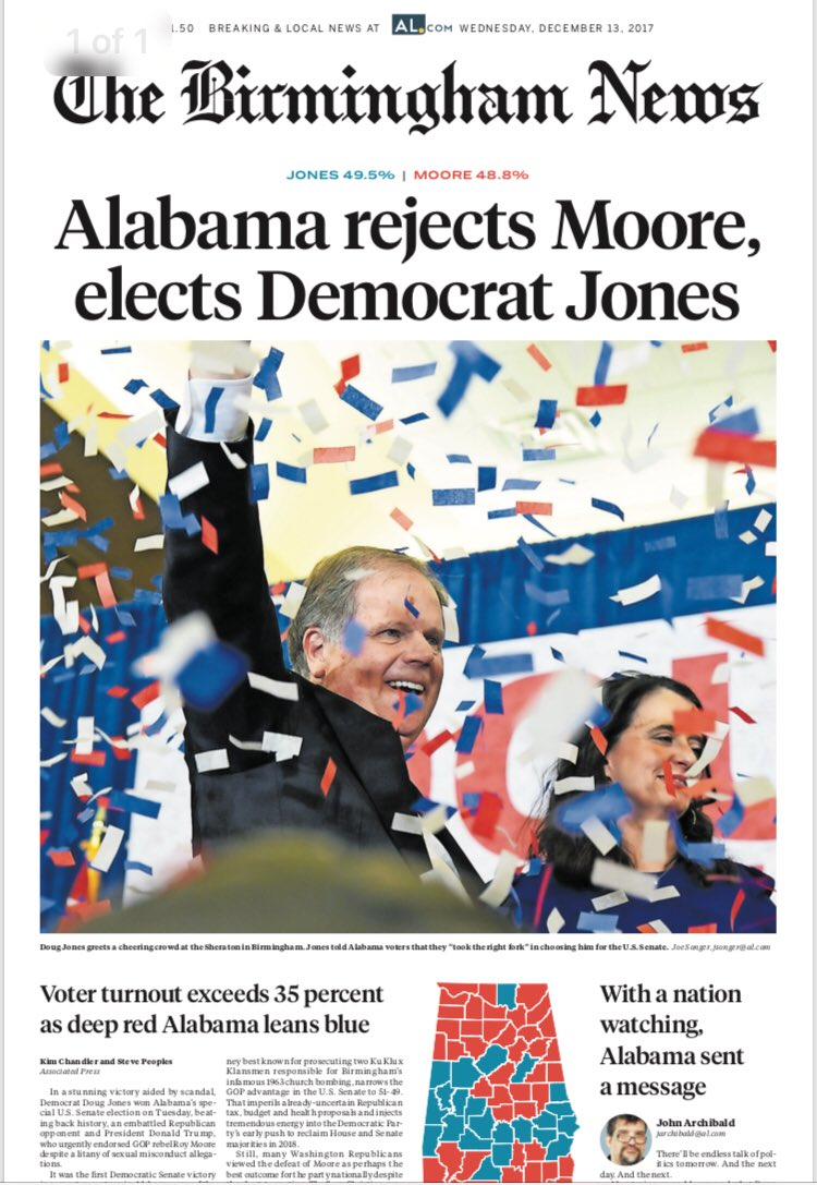 #NoMoore Tomorrow's front page from Alabama's largest city.  #history #DougJones https://t.co/jo3vLGFYYi