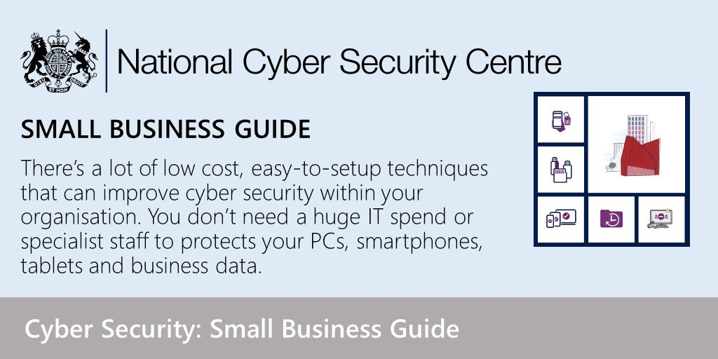 The five things you need to do to help secure your #smallbusiness! Check out our guide  https://www. ncsc.gov.uk/blog-post/cybe r-security-small-business-guide &nbsp; … <br>http://pic.twitter.com/bYtAfzuhIt