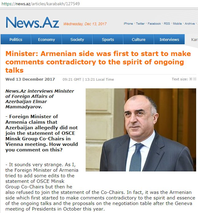 Interview by Foreign Minister Elmar #Mammadyarov to news.az https://t.co/L1dVWTnpIB https://t.co/4xX3yU6SjH