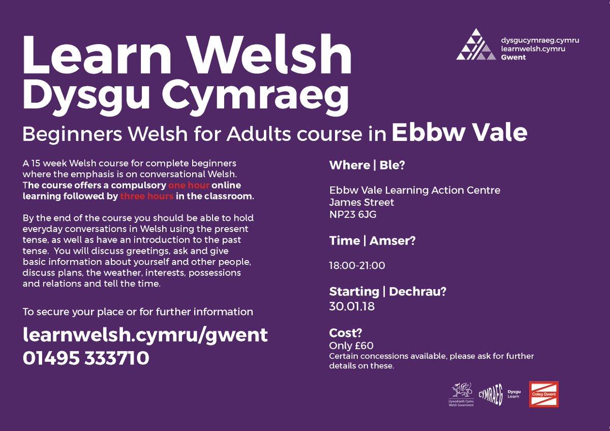 Learn Welsh Gwent On Twitter Learn Welsh Beginners Course