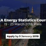 Applications for our free Energy Statistics Course from 19-23 March in Paris are now open. Apply before 5 Jan 2017 https://t.co/ESHIrSZXQi