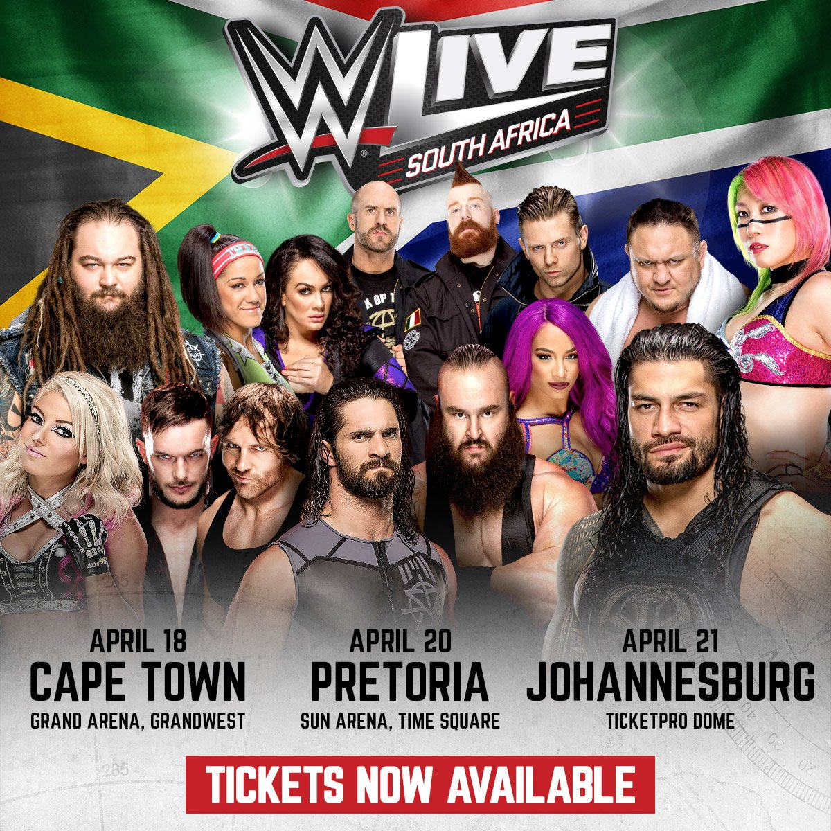 Tickets for @WWELive South Africa 🇿🇦  are now on sale for Cape Town, Pretoria and Johannesburg!   Get them here >> https://t.co/Kh0Bf8FSYx