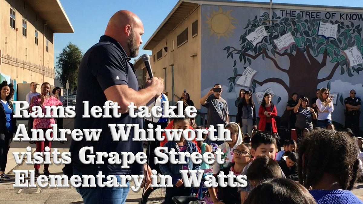 Rams player Andrew Whitworth gave a speech at an elementary school in Watts about character and integrity. Then, he had a surprise: A new bike and helmet for every child in the audience. https://t.co/bp7jWs58qx