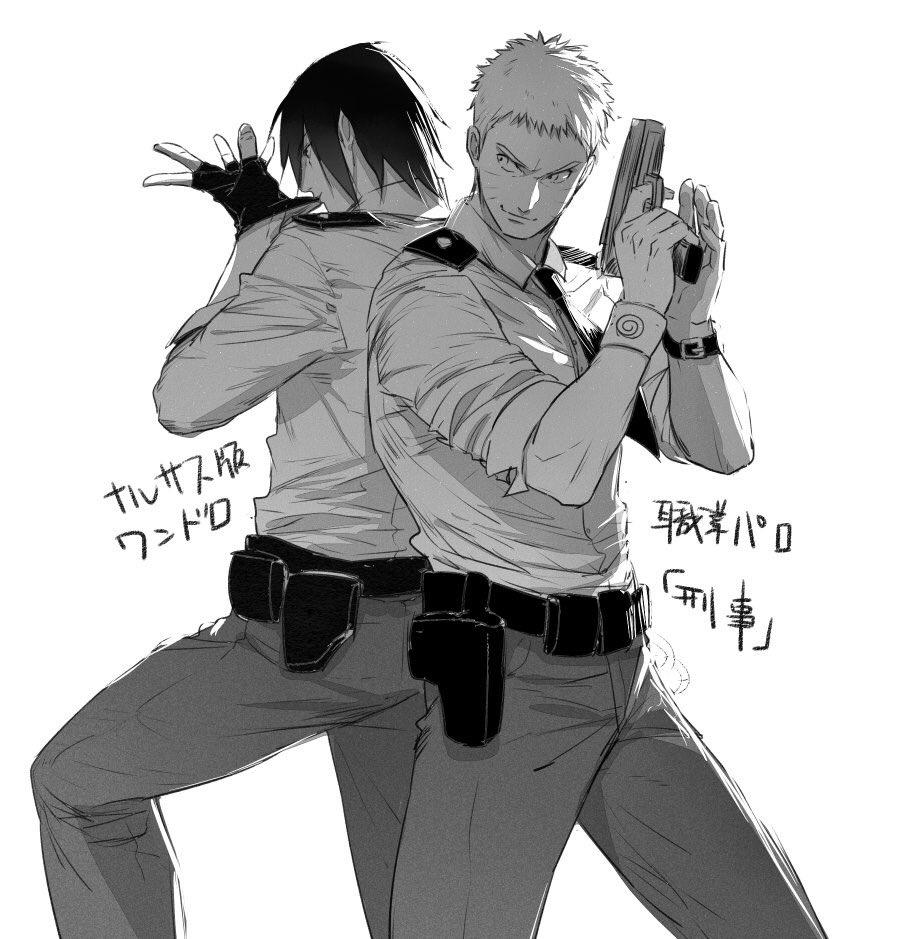 只是想畫這兩個當警察、膩了 #ナルサス版ワンドロ