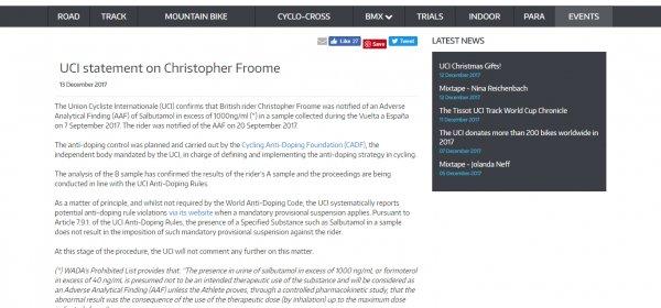 """Chris Froome trovato positivo al salbutamolo alla Vuelta: """"Cura per l'asma"""" - https://t.co/Y9GW9mj8Ya #blogsicilianotizie #todaysport"""