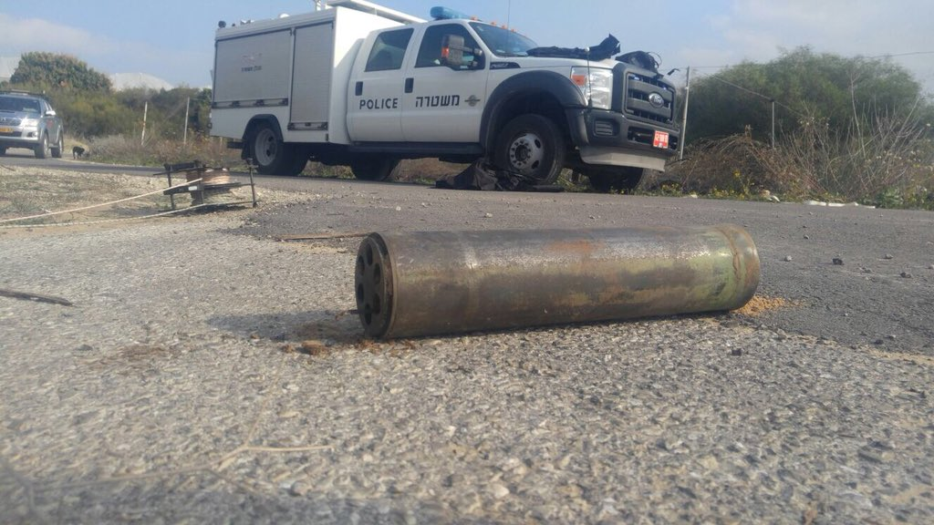 Picture of the rocket launched from Gaza last night towards Israel and which landed in open territory. Israeli army struck Hamas targets overnight in response