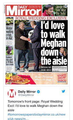 #MEGHAN'S #DAD  British press finally found #MeghanMarkle's father. #royals #RoyalEngagement #RoyalWedding2018pic.twitter.com/JraI0VoYwZ