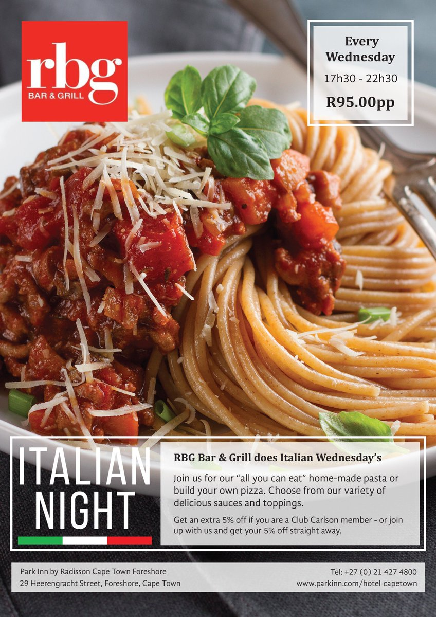 Italian Wednesdays at ParkInnCT!  DID YOU KNOW: It was not until the 1700's that tomato sauce was included with spaghetti in Italian kitchens. • #Wednesdays #buffet #pasta #freshtoppings #wednesday #rbg #parkinnct #dinner #hotel #hospitality #buildyourown  #italian #CapeTown https://t.co/nVtPeP9kfV