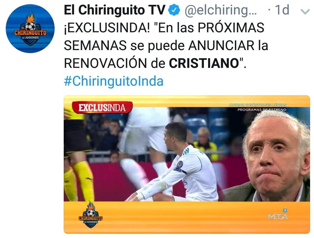 Enhorabuena a @elchiringuitotv por ADELANTAR en EXCLUSIVA el futuro de Cristiano Ronaldo. Lo que no sé es qué vídeo nos restregarán en el futuro, si el del lunes o el del martes #CristianoSeVa #CristianoSeQueda