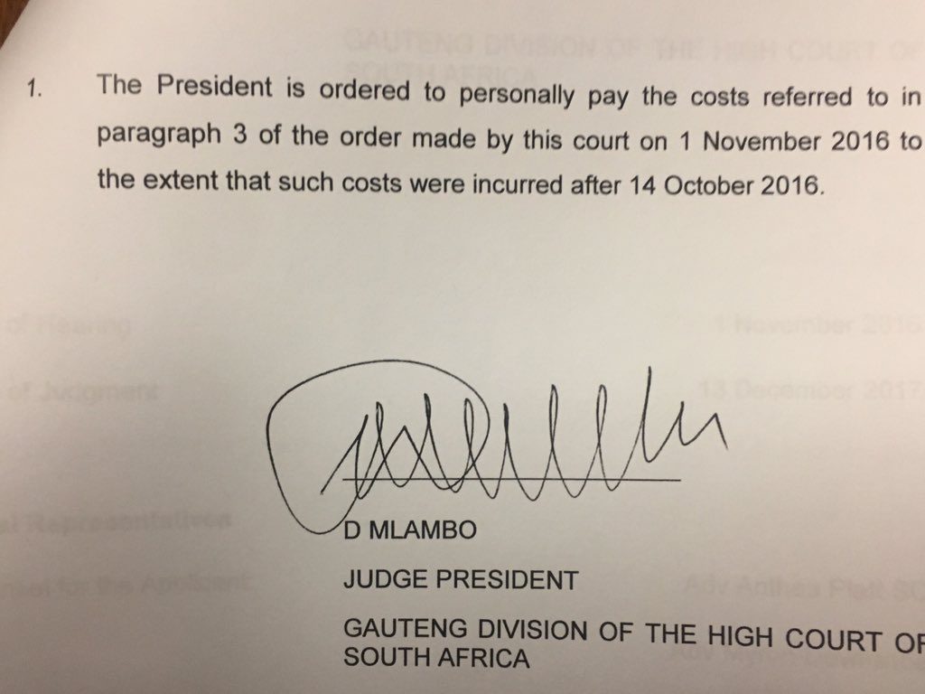 First personal costs order ever issued against SA President: #StateCapture