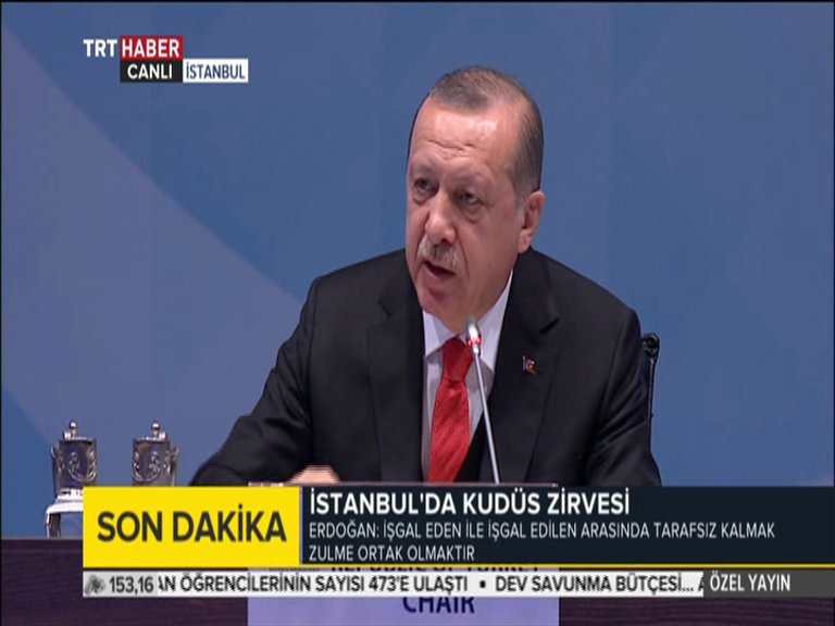 Turkish President Recep Tayyip Erdogan has called on the international community to recognise Jerusalem as the capital of the Palestinian State.