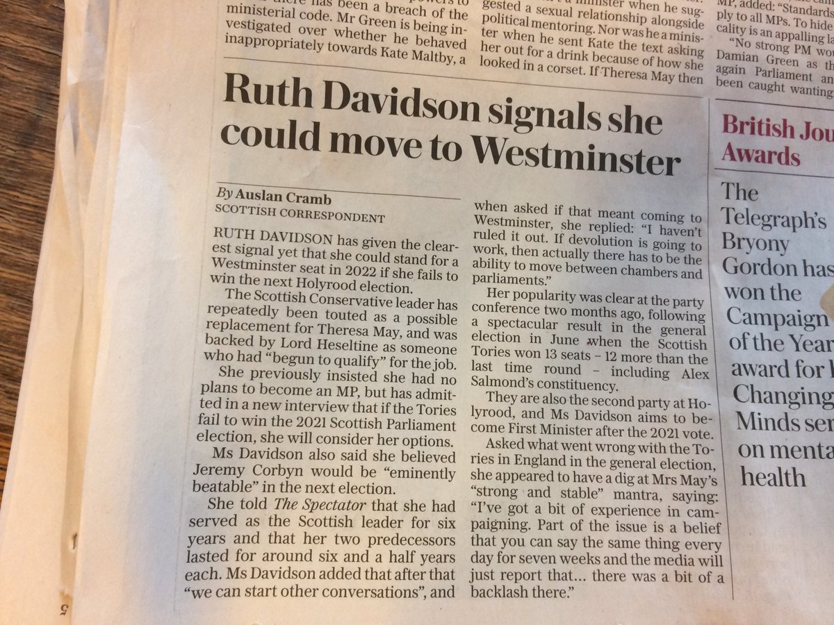 Perhaps the Tories in Scotland might want Ruth Davidson to finish the job in Scotland before heading south to be hailed as David Cameron's choice for Conservative leader?