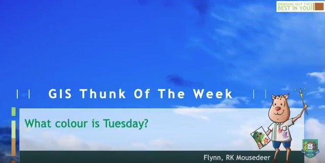 Thunk of the week: What colour is Tuesday?  https:// youtu.be/Ij0krMf2y3U  &nbsp;   #GISLearning #WeAreGIS<br>http://pic.twitter.com/OlqjTTrdbv
