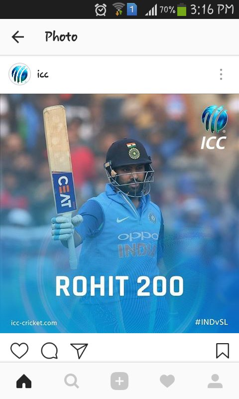 So he does it again @ImRo45 completes third double century and makes his name much bolder in record books A great wedding gift for #Virushka too #GoHitman #Rohitian #INDvSL  @BCCI @StarSportsIndia