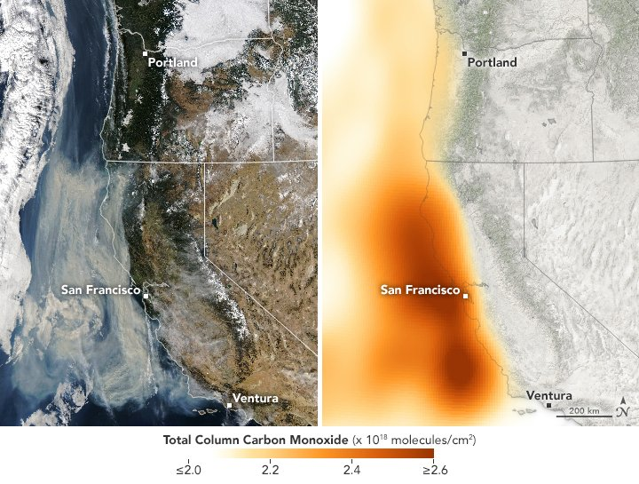California Wildfire Emissions https://t.co/tSosUQNgvs #NASA