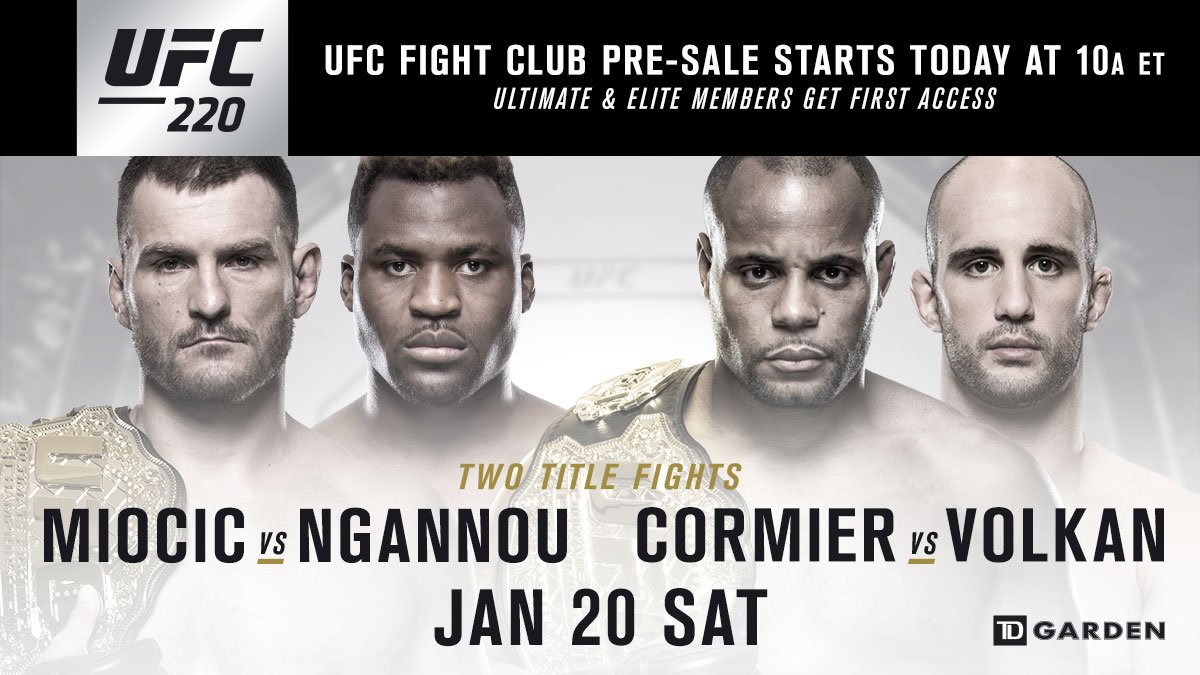FIGHT CLUB MEMBERS!  Your #UFC220 Presale starts NOW: https://t.co/PaEILGsEnF https://t.co/Piu00K32Wd
