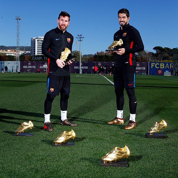 #GoldenCollection Leo #Messi & @LuisSuarez9  2️⃣ friends 6️⃣ Golden Shoes …and counting!