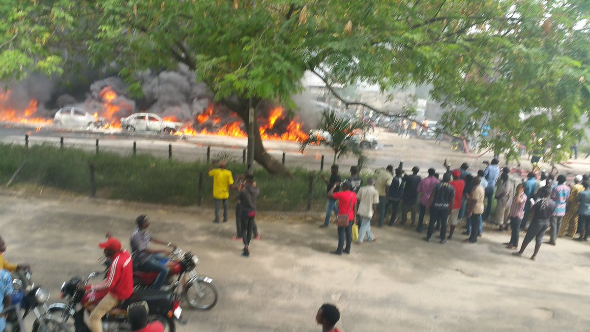 No fewer than twenty vehicles and four okada were on Wednesday afternoon burnt when a tanker laden with petrol fell and spilled its content in Lagos.