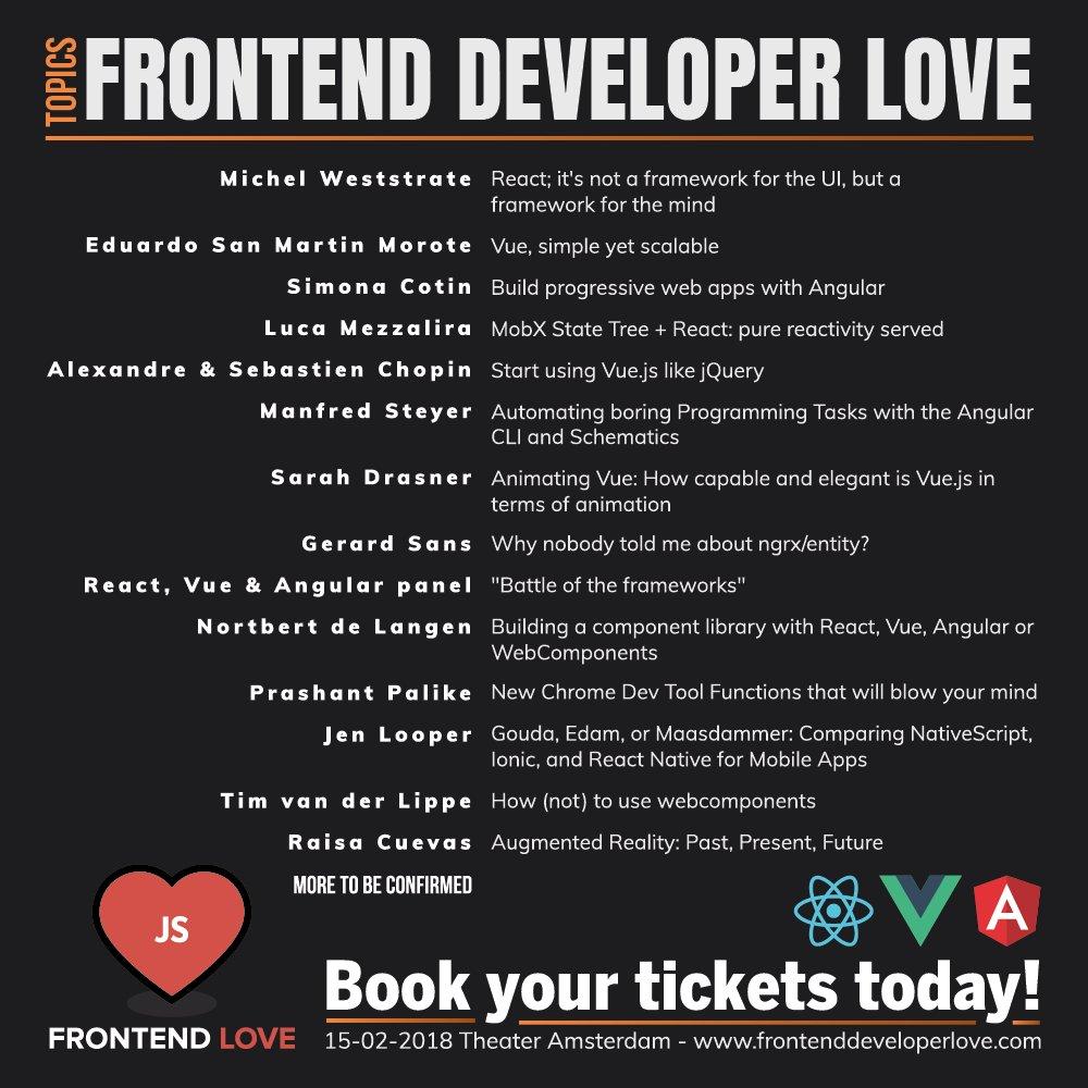 Are you ready  LINE-UP DAY 1 of  http://www. frontenddeveloperlove.com  &nbsp;   is officially released! Buy your tickets now via:  http:// frontendloveconference.eventbrite.nl  &nbsp;   @angular @reactjs @vuejs #reactjs #angularjs #vuejs #coding #frontend #webdesign #webdeveloper #javascript #php #laravel #nodejs <br>http://pic.twitter.com/KxkkF1yxbJ