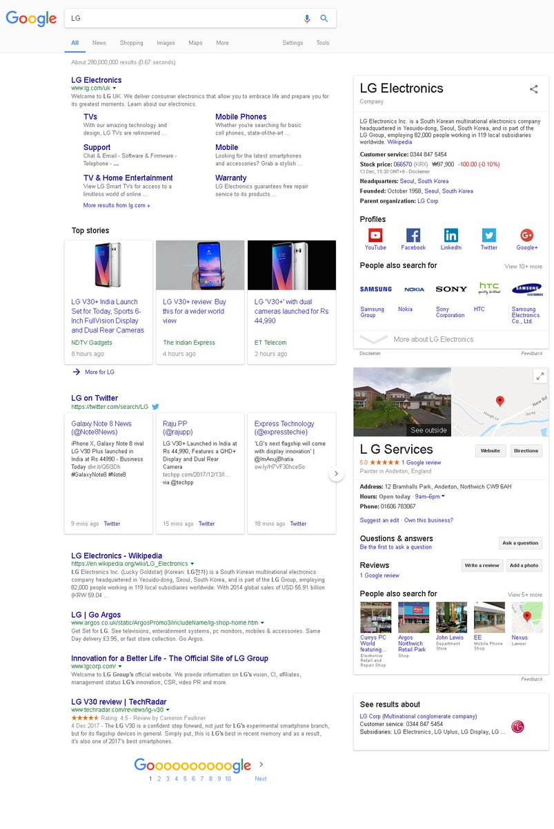 ... Double Knowledge Graph. Got This When Searching For Brands LG, Solar  City And Few Others. Do You Think Itu0027s A Bug Or A Test Or Anything Else?