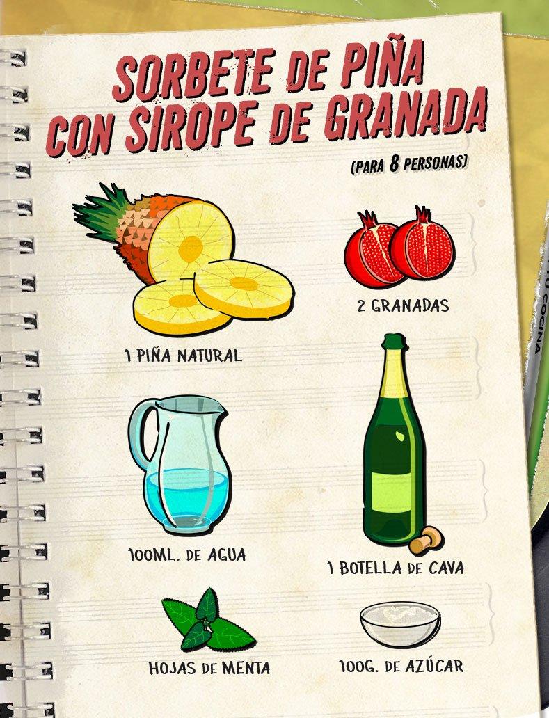 🍍 Hoy en el programa de @karguinano vamos a preparar un postre de 'Sorbete de piña con sirope de granada'.   📺 13:15 en @antena3com   ¡No os lo perdáis!