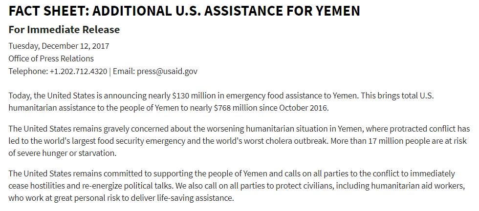 'The United States is announcing nearly $130 million in emergency food assistance to #Yemen. This brings total U.S. humanitarian assistance to the people of Yemen to nearly $768 million since October 2016.' @USAID Fact Sheet: https://t.co/wfRmnYamqg